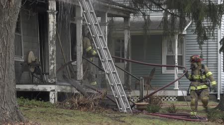 first officer : Scenes from a House Fire Stock Footage