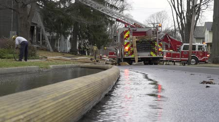 fire officer : Scenes from a House Fire Stock Footage