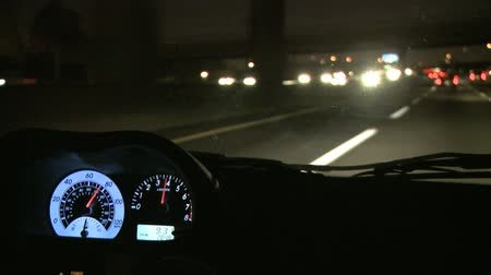 indústria : View from Inside a Car at Night Stock Footage