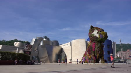 euskadi : A view of the Jeff Koons sculpture by the Guggenheim in Bilbao, Spain