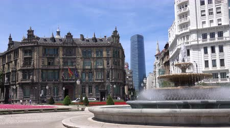 vizcaya : A view inside Plaza Moya, The Central Plaza in Bilbao, Spain