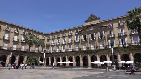 cielo : View inside the Plaza Nueva or Plaza Barria in Bilbao Spain