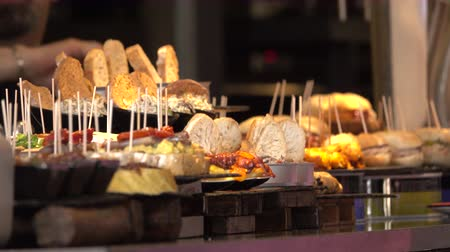 polvo : View of a pintxo or tapas bar in Bilbao, Spain Stock Footage