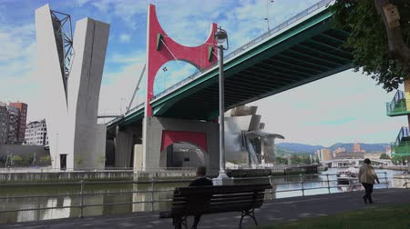 vizcaya : A view of La Salve Bridge near the Guggenheim museum in Bilbao, Spain