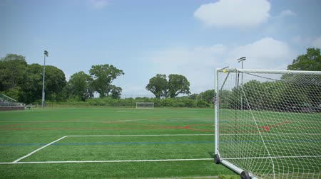 trest : A pan down to a soccer goal on a sunny day