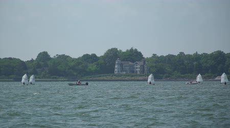 istiridye : Aquatic view of a boat regatta sailing school in the bay near Fire Island on a gorgeous sunny day