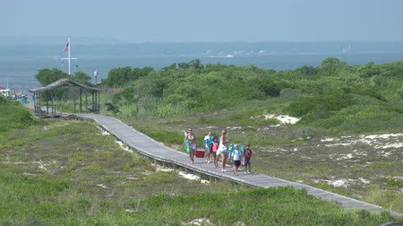istiridye : A view of the boardwalk at Ho Hum beach on Fire Island on a nice sunny day