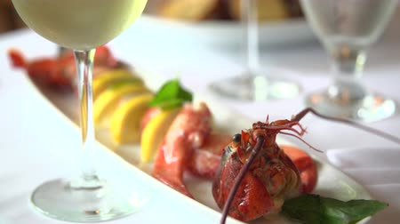 cozinhado : Dramatic shot of lobster meal with wine Vídeos