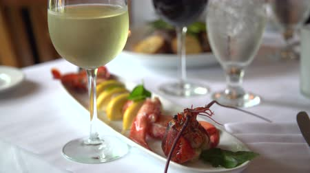 омар : View of white wine and lobster dinner Стоковые видеозаписи