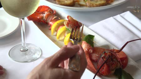 preparado : Man drinking wine and eating lobster for dinner