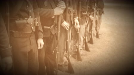 row : Scene as Civil War soldiers come to attention (Archive Footage Version) Stock Footage