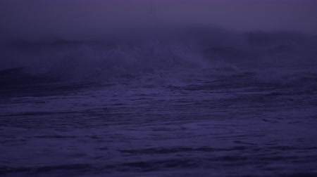 moře : Violent ocean storm at night crashes to beach