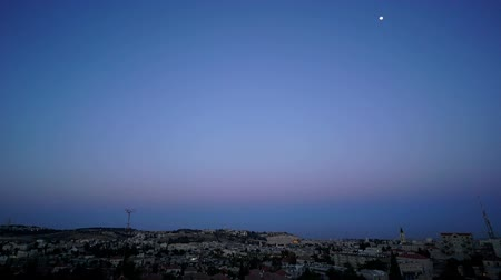 batı : Time lapse of sunset nightfall in Jerusalem