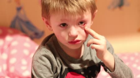 little boy is angry and whimper Stock Footage