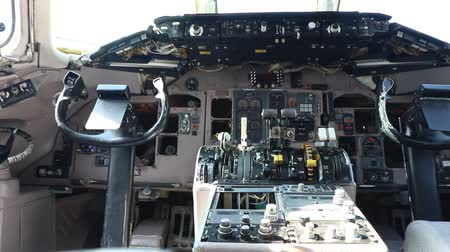 control cabin of an airplane Stock Footage