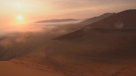 pustý : view of Erg Chebbi Dunes - Sahara Desert - at sunrise, in Morocco
