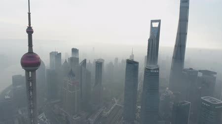 bund : China, Shanghai city panorama from the air (Drone footage) Stock Footage