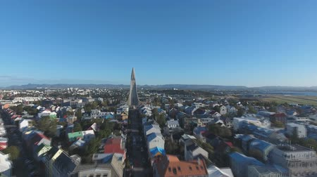 torshavn : Flight of the drone over the family Reykjavik, Iceland