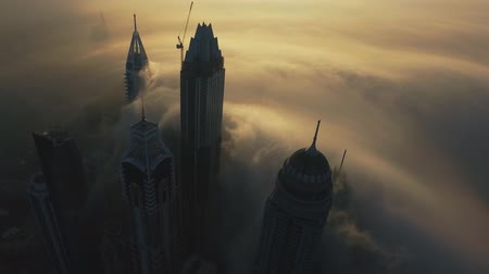impressive skyline : Dubai city in the morning mist (Drone footage) Stock Footage