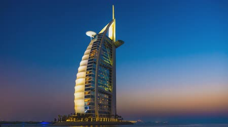 impressive skyline : view of the hotel, the sail (Burj Al Arab), Dubai (time-lapse)