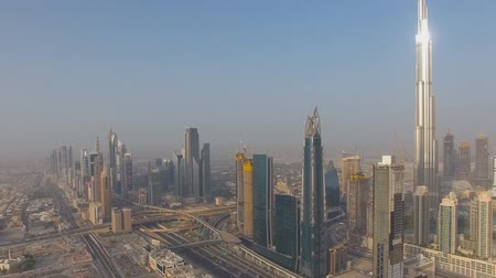 эмираты : view of the downtown Dubai (Building Burj Dubai) Стоковые видеозаписи