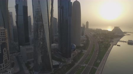 city of Doha, Qatar. Aerial view of the central buildings at sunset.