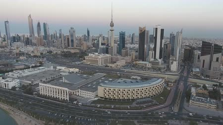 aerial view, city of Kuwait at sunset.