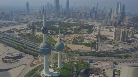 Aerial view of the Kuwait Towers. Стоковые видеозаписи