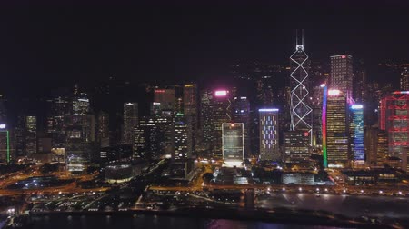 panorama of the night city of Hong Kong (aerial photography)