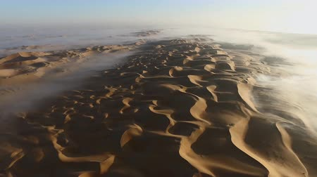 ОАЭ : fog over the dunes-Liwa desert. Liwa, UAE. (aerial photography)