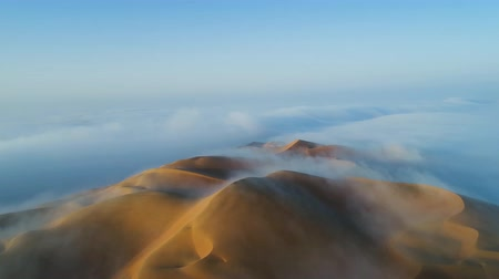 fog over the dunes-Liwa desert. Liwa, UAE. (aerial photography)