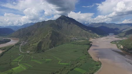 Aerial view of the flood of the yellow river northwest of Ningxia province