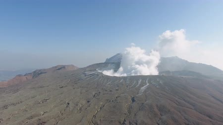 Volcano Crater Aso Caldera Japan (aerial photography) Stockvideo