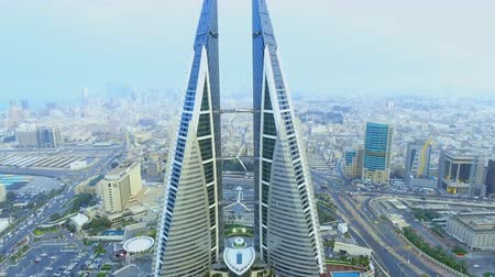Bahrain World Trade Center - The Bahrain World Trade Center Стоковые видеозаписи