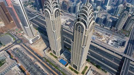 UNITED ARAB EMIRATES - Dubai modern architecture Стоковые видеозаписи
