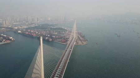 Aerial Photography of Ap Lei Chau Bridge and Skyscrapers in Aberdeen,Hong Kong Стоковые видеозаписи