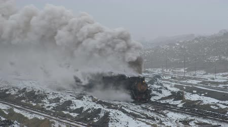 Sandaoling Coal Mine Railway China-the work of steam trains on a large coal mine in China Стоковые видеозаписи