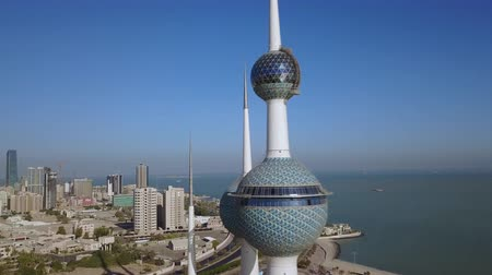 Aerial view of the Kuwait Towers. (aerial photography) Стоковые видеозаписи