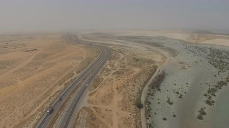 road in the in Liwa desert. Liwa, UAE. (aerial photography)
