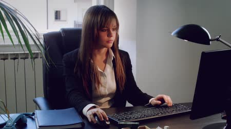 İtalyan : Young business woman working with computer in office