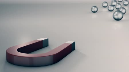 mıknatıs : a magnet with some steel balls, one of them Exceeds all the others and is pulled by the magnet, the concept of competition and leadership (3d render)