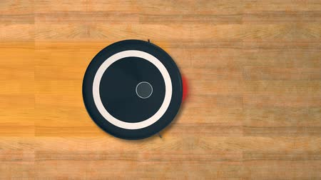 fotokopi makinesi : That robot vacuum cleaner cleans a wooden floor (3d render) Stok Video