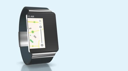kopya : One smartwatch with apps That slide on the screen, with alpha mask and copyspace (3d render)