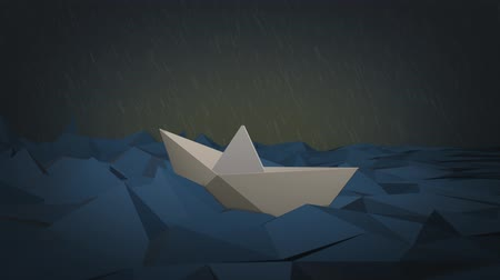 низкий : one paper boat sailing on a stormy sea, low-poly style (3d render) - loopable
