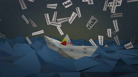 инвестирование : one paper boat made with a financial document on a stormy sea and scraps of paper with words about financial crisis, low-poly style (3d render) - loopable