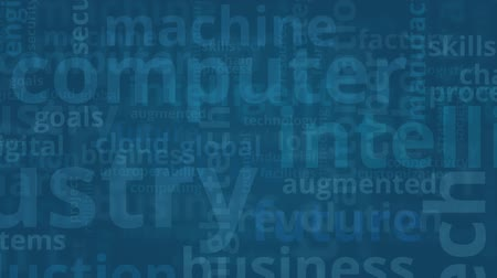 четверть : word cloud with terms about industry 4.0, flat style Стоковые видеозаписи