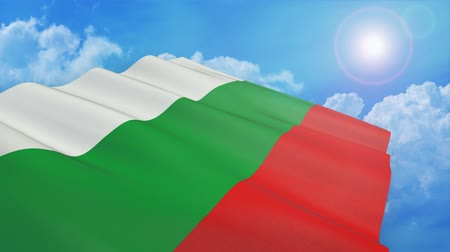 Close-up view of bulgarian flag on white background - 3d render - alpha mask - loop Стоковые видеозаписи