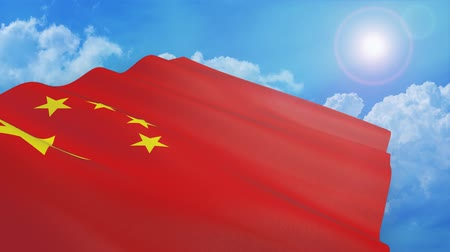 Close-up view of the flag of china on white background (3d render) - alpha mask - loop Стоковые видеозаписи