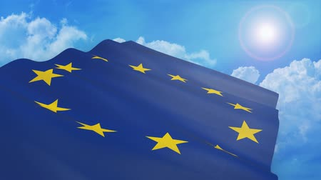 Close-up view of flag of europe on white background - 3d render - alpha mask - loop