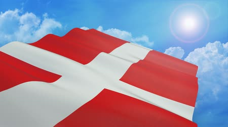 Close-up view of flag of denmark on white background (3d render) - alpha mask - loop